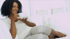 Attractive Female Relaxing Enjoying Coffee Stock Footage