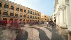 Largo do Senado in Macau Centre. China - stock footage