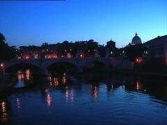 ROME boat under vittorio emanuele bridge Stock Footage