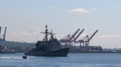 USS Bunker Hill, CG-52, Guided Missile Cruiser Stock Footage