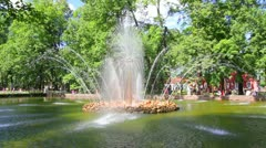 Sun fountain in petergof park St. Petersburg Russia - timelapse - stock footage