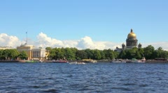 Neva river in the historical center of Saint-Petersburg, Russia - timelapse Stock Footage