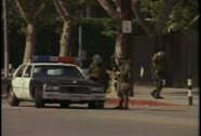 Burned out buildings during the LA riots in 1992. Stock Footage