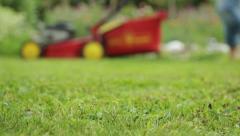 Woman mowing lawn defocus Stock Footage
