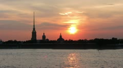 Sunset over Peter and Paul fortress in Saint-Petersburg, Russia - timelapse - stock footage