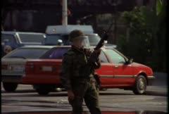 Stock Video Footage of National Guard troops guard against looting during the LA Riots.