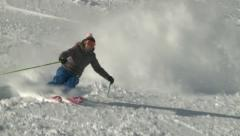Girl skier loves powder turns - stock footage