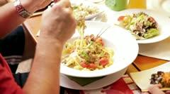 Eating italian pasta beer garden Stock Footage