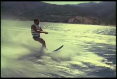 A man waterskis on a lake. Stock Footage