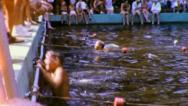 BOYS Race Lap SWIM MEET Competition swimming 1960s Vintage Film Home Movie 3056 Stock Footage