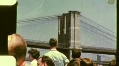 Harbor Tour Boat BROOKLYN BRIDGE 1960s (Vintage Retro Film Home Movie) 3041 Stock Footage