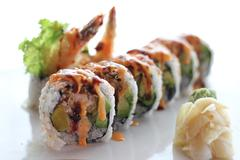 Sushi roll with shrimp Stock Photos