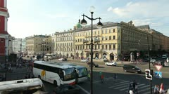 Nevsky Street near the Gostiny Dvor, St. Petersburg, Russia Stock Footage