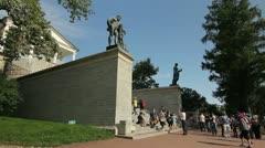 Side view of Tourists near the Kameron Gallery, Tsarskoe selo, St.Petersburg, Ru Stock Footage