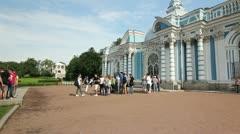 Tourists near the Grotto Pavilion, Tsarskoe selo, St.Petersburg, Russia Stock Footage
