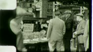 Man Walks Past NEWSPAPER STAND NYC Street 1930s Vintage Film Home Movie 3034 Stock Footage