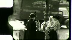 PRETZEL PUSHCART VENDOR Lower East Side NYC 1930s (Vintage Film Home Movie) 3032 Stock Footage