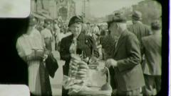 People PRETZEL PUSHCART Lower East Side NYC 1930s Vintage Film Home Movie 3031 - stock footage