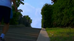 Jogger Running Up Stairs Stock Footage