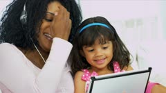 Portrait Mom Daughter Music Wireless Tablet  Stock Footage