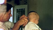 Stock Video Footage of BABYS Boys FIRST HAIRCUT 1950s Barber Shop Vintage Film Home Movie 3026