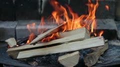 Burning Wood In The Fireplace. Closeup. Stock Footage