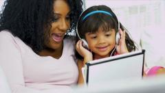 African American Mother Child Music Wireless Tablet - stock footage