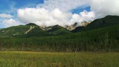 Crystalline Hills Meadow and Mountain Forest Pan - stock footage