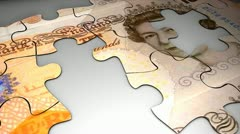 Currency puzzle, Pound Sterling, crisis, value, future, devalue.. - stock footage