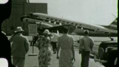 PASSENGERS BOARDING Northeast Airline Plane 1950s Vintage Film Home Movie 3100 Stock Footage