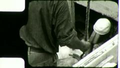 Men Unload TUNA FISH COMMERCIAL FISHING BOAT 1930s Vintage Film Home Movie 3110 Stock Footage
