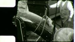 FISHING BOAT Men UNLOAD Tuna 1930s Fishermen Worker Vintage Film Home Movie 3109 Stock Footage