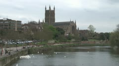 River Severn Cathedral Stock Footage