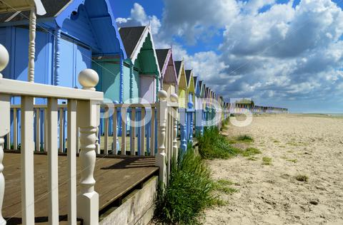 Stock photo of beach huts