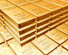 Stacks of gold bars Stock Illustration