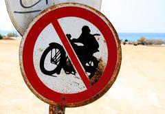 no motorcycles sign - stock photo