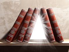 Mysterious bookshelf Stock Illustration