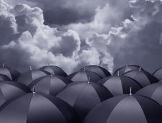 shelter from the rain - stock illustration