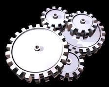 Silver gears Stock Illustration