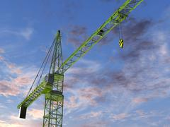 tower crane at twilight - stock illustration