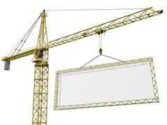 Crane lifting blank sign Stock Illustration
