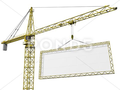 Stock Illustration of crane lifting blank sign