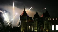 A beautiful fireworks in the night sky (with castle) Stock Footage