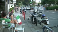 Italian flag, street bar, soccer, motorbikes, football, Stock Footage