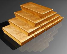 stack of pure gold bars - stock illustration