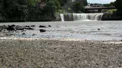 Long shot of New Zealand's Haruru Waterfalls - stock footage