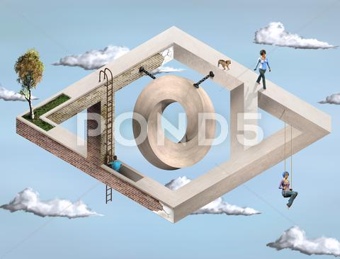 Stock Illustration of impossible geometric architecture