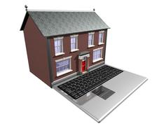 Stock Illustration of house-buying on the internet
