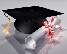 Mortar board and diploma Stock Illustration