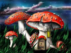 Magic mushrooms Stock Illustration